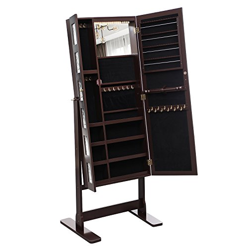 Cabinet Picture Frame - SONGMICS 18 LEDs Jewelry Cabinet Armoire with Mirror, Large Jewelry Organizer 6 Photo Frames Brown UJJC92K