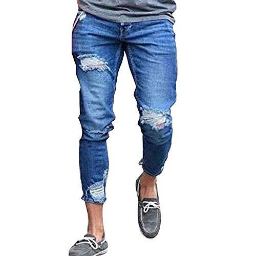 Fit Con Jeans Uomo Foro Semplice Skinny Blau Strappati Elasticizzati Pantaloni Vintage Denim Distrutto Lanceyy Stile E2I9YeWDH