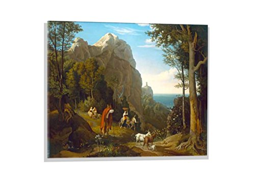 - Glass Picture: Ludwig Adrian Richter Valley at Amalfi with View of The Bay of Salerno, Wall Picture, Brilliant Art Print on Real Glass, 27.6x19.7 inch / 70x50 cm