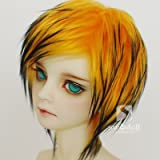7-8inch(18-19cm): 1/4 BJD Doll MSD Fur Wig Dollfie Yellow + Black / SW57