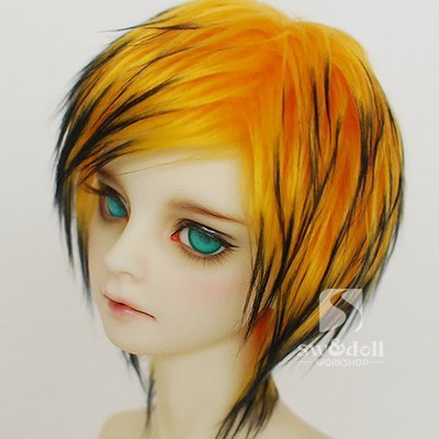 Doll Fur Wig (7-8inch(18-19cm): 1/4 BJD Doll MSD Fur Wig Dollfie Yellow + Black / SW57)