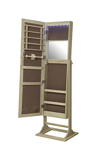 Abington Lane Standing Jewelry Armoire - Lockable Cabinet Organizer with Full Length Mirror and LED Lights (Natural Oak)