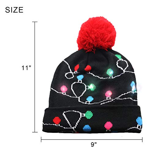 aaf884305f07aa Amor LED Light up Christmas Hat Beanie Knit Cap and LED Gloves Unisex Ugly  Sweater Holiday Xmas Accessories at Amazon Women's Clothing store: