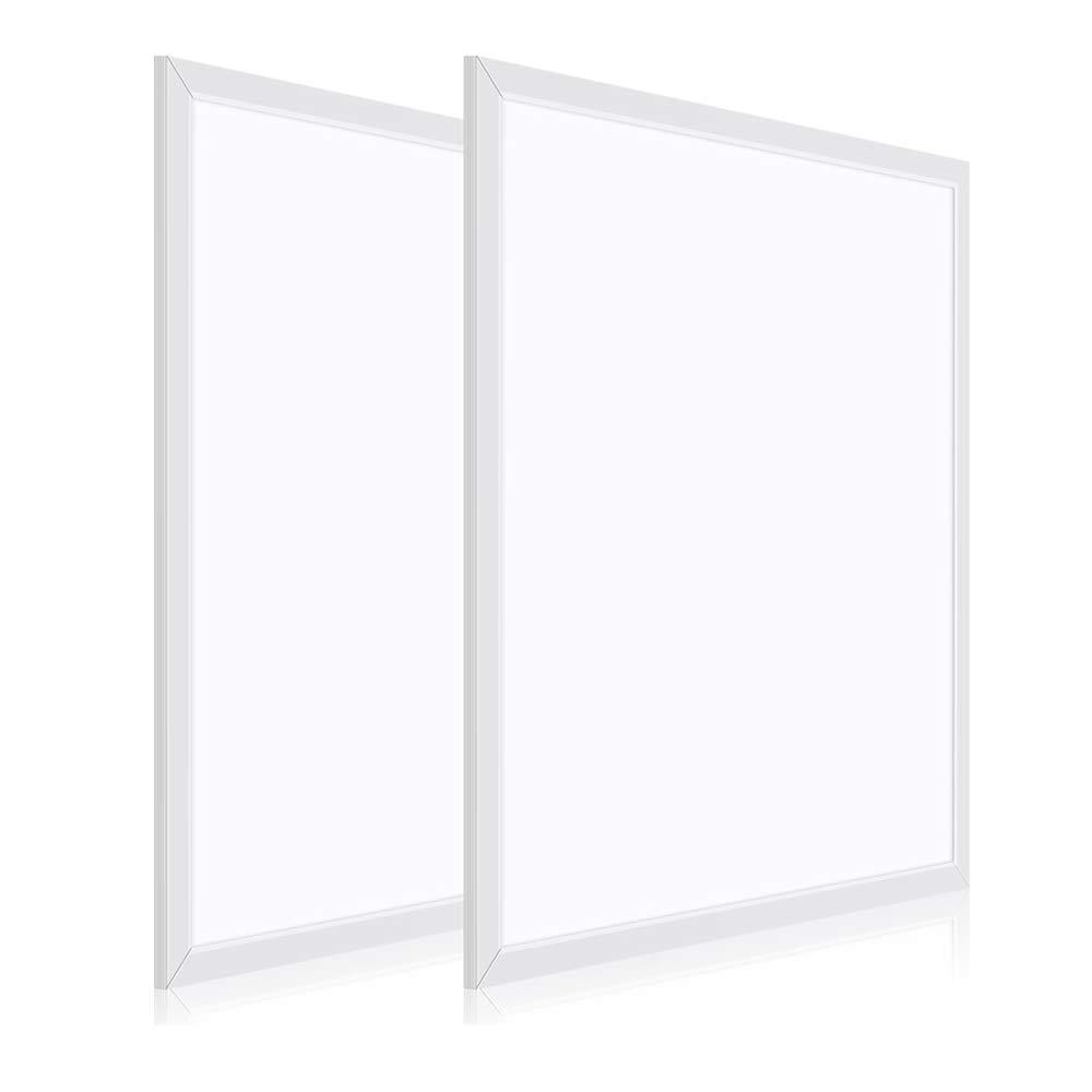 2 Pack 2x2FT Flush Mount LED Flat Panel Light 40W 4200LM 0-10V Dimmable 4000K Natural White, 280W Equiv. Ultra Slim Surface Mount LED Ceiling Troffer Light Fixture, Nationwide Rebate Program Eligible