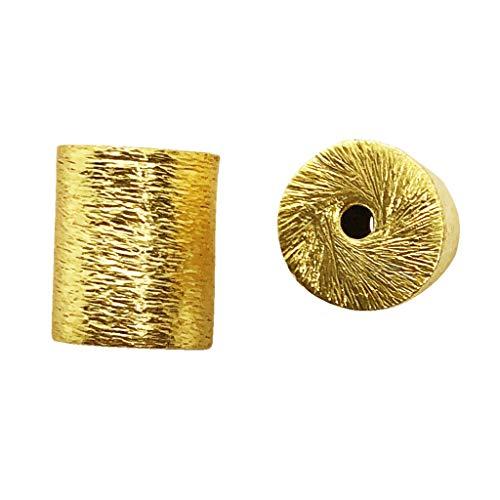 - 18K Gold Overlay Cylinder Shape Brushed Bead BG-264-10X8MM