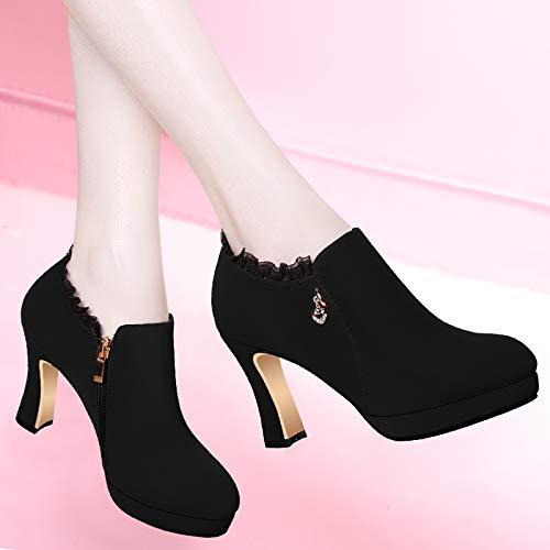 Zapatos Primavera Casual Yukun Altos Redonda Alto Tacones De Gruesa Negro Tacón Zapatillas Cabeza Mujer Para Black Moda Otoño Y Individuales Con pIqqdwxC