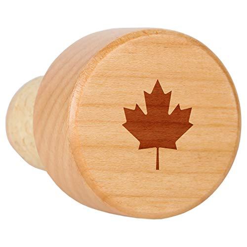 - Maple Leaf Maple Wood Wine Bottle Stopper With Cork - Laser Engraved Decorative Wine Bottle Stopper - Reusable Cork Stopper Gift