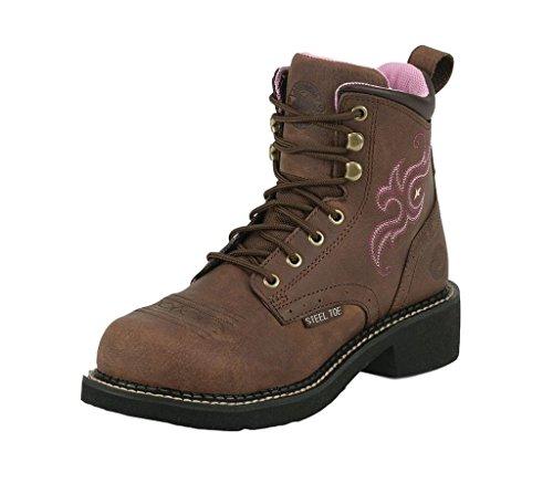 Justin Ladies Aged Bark - Justin Ladies Gypsy Steel 6in Bark Work Boots 10.5