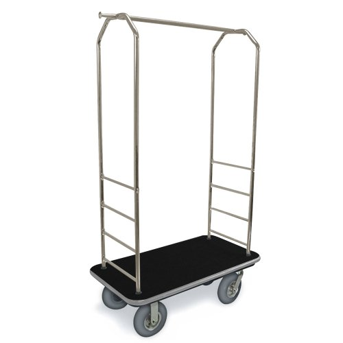 csl-2099gy-020-stainless-steel-finish-bellmans-cart-with-rectangular-black-carpet-base-gray-bumper-c