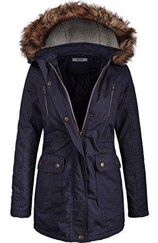 2LUV Women's Fur Hooded Utility Jacket Zipper Lining Navy ()
