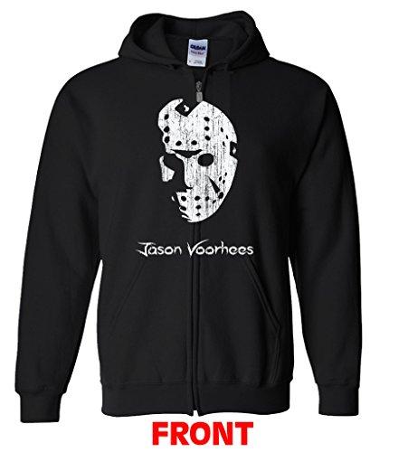 Jason Voorhees Portrait Zipper Hoodie XXX Black (Jason Voorhees Clothes)