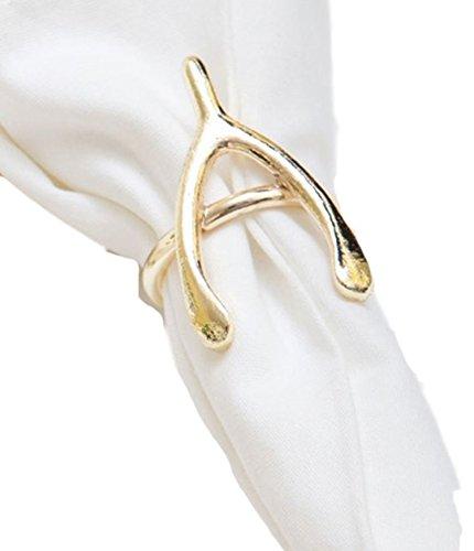 Wishbone Gold Rings (8 Oak Lane Gold Wishbone Napkin Rings (Set/4))
