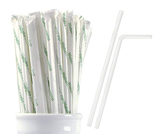 Webake Eco 100% Compostable Plant-Based Drinking Straws, Individually Wrapped and Bendable, Eco Friendly PLA, 9 Inch Jumbo Corn Starch Based Straw (Pack of 200)