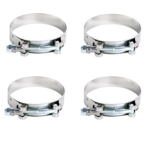 Stainless Steel for 3.0inch T-Bolt Clamp for Turbo Silicone Intercooler Hose Clamp Pack of 4pcs