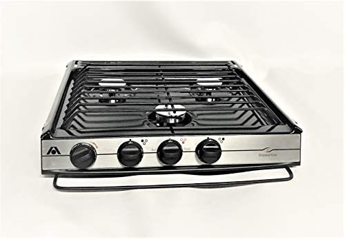 Atwood Rv Cooktop Stove - Wedgewood Atwood 3 Burner High Output CV-35 BPS Piezo Black Top Slide in Cooktop 52941