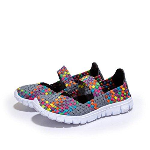 Mujer Deportivos Sandalias Gris Malla elástico Zapatos para Respirable QinMM Zapatillas Alpargatas Mocasines q71Inw