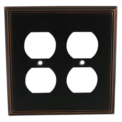 Cosmas 65044-ORB Oil Rubbed Bronze Double Duplex Electrical Outlet Wall Plate (Double Duplex Cover Plate)