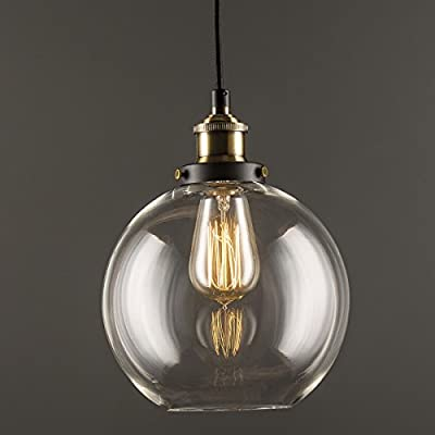 Linea di Liara Primo Industrial Factory Pendant Lamp - One-Light Fixture with Glass Shade Exposed Hardware Fabric Wrapped Cord - 5-Inch Canopy - Downlight Modern Vintage LL-P429