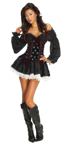 Sexy Pirate Hair (Secret Wishes Women's Playboy Swashbuckler Sexy Pirate Costume, Black, Medium)