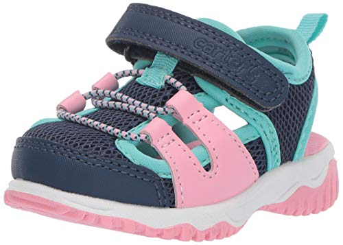 carter's Girls' Sunny Boy's Athletic Fisherman Sandal, Navy/Pink, 12 M US Toddler