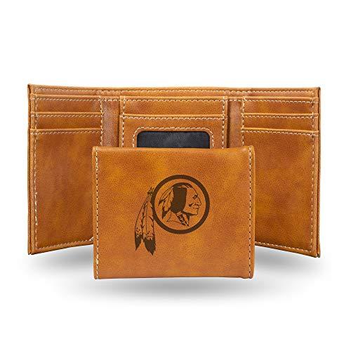 Rico Industries NFL Washington Redskins Laser Engraved Tri-Fold Wallet, Brown