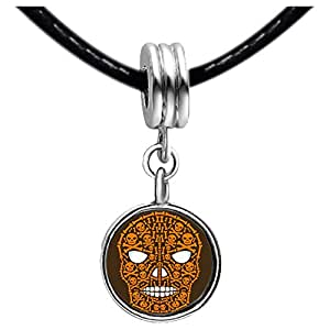 Chicforest Silver Plated Halloween skeletons clip art Photo Black Crystal Flower dangle Charm Beads Fits Pandora Charms
