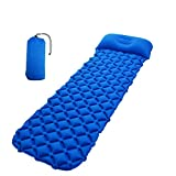 SHDIOU Inflatable Pad Mat with Pillow Outdoor Air Inflatable Sleeping Pad with Pillow Hiking Camping Mat Mattress Blue Without Pillow 1950X610X50mm