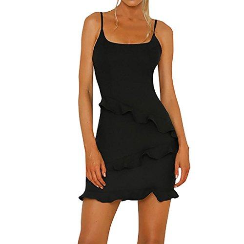 Black Halter Flounce Dress - Livoty Womens Halter Flounces Slim Solid Dresses Ladies Summer Holiday Beach Sleeveless Party Dress (M, Black)