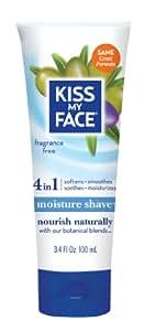 Kiss My Face Moisture Shave Shaving Cream, Olive and Aloe Fragrance Free Shaving Soap for Sensitive Skin, 3.4 Ounce Travel Size
