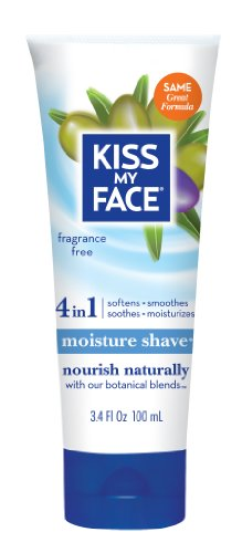Kiss My Face Moisture Shave Shaving Cream, Olive and Aloe Fragrance Free Shaving Soap for Sensitive Skin, 3.4 Ounce Travel Size