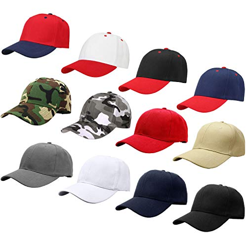 Falari Wholesale 12-Pack Baseball Cap Adjustable Size Velcro Closed Plain Blank Solid Color (Assorted Color Group 3) ()