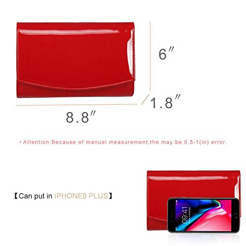 Women Patent Leather Wallets Clutch Purses,WALLYN'S Evening Bag Handbag Solid Color Red