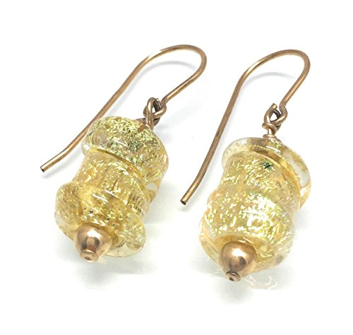 Amber and Gold Dichroic Glass Earrings