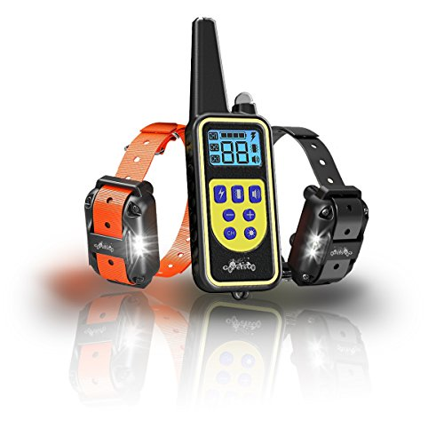 GoPetsGo 2640 Feet Rechargeable Waterproof Dog Training Collar with remote, vibration/Shocks and sound Mode of operation with White Back-light LED ()