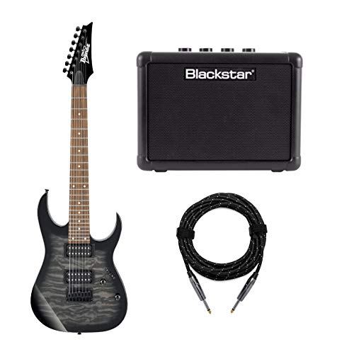 Ibanez GRG 7-String Solid-Body Electric Guitar (Right Hand, Transparent Black Sunburst) Bundle with 3-Watt Battery Powered Guitar Amp and Professional Series Guitar Cable (20 feet)