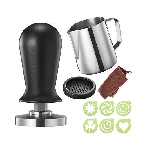 Practimondo – Prensa para café expreso (51 mm, calibrada, incluye alfombrilla para prensar café y jarra de leche (350 ml…