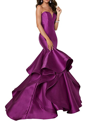 YIRENWANSHA 2018 Strapless Prom Dress Plus Size Empire Waist Mermaid Satin Formal Party Gowns Homecoming Dresses for Girls Graduation Simple Ball Gown YW11 Light Grape Size 20W