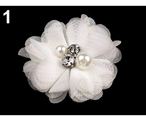 10pc 1 White Decorative Mesh Flower Ø50mm with Beads, Other Flowers to Sew Glue On, Clothing, Footwear and Accessories, ()