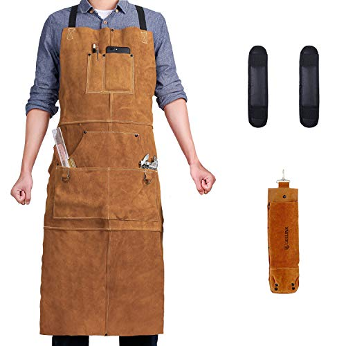 Leather Welding Apron 6 Pockets with Rod Holder and Shoulder Pad - Heat & Flame-Resistant Heavy Duty Work Aprons, Cross Back Long Strap, Adjustable M to XXXL for Men & Women