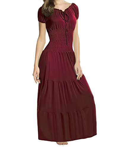 ELESOL Women Renaissance Boho Cap Sleeve Smocked Waist Tiered Party Maxi Dress