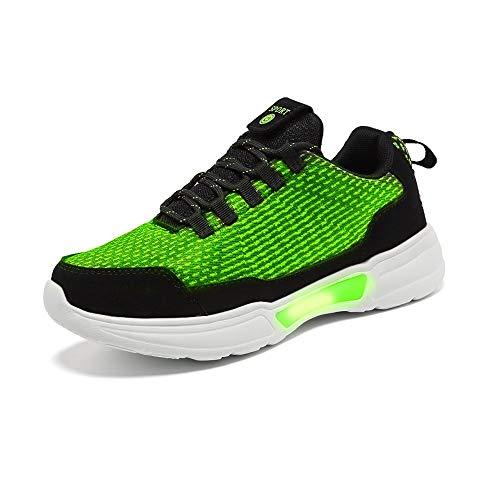 Idea Frames Fiber Optic LED Light Up Shoes for Women Men USB Charging Fashion Sneaker Green -