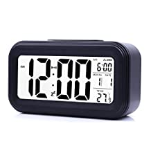 JJCALL LED Clock Slim Digital Alarm Clock Large Display Travel Alarm Clock with Calendar Battery Operated for Home Office (Temperature Display, Snooze Function, Smart Back-light) Black
