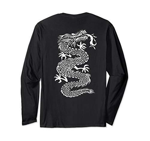 - ROCKSTAR White Kung Fu Dragon - Martial Arts Tattoo on Back Long Sleeve T-Shirt