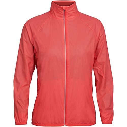 Icebreaker Merino Women's Rush Windbreaker Pattern Jacket, Folds/Poppy Red/Embossed, Medium