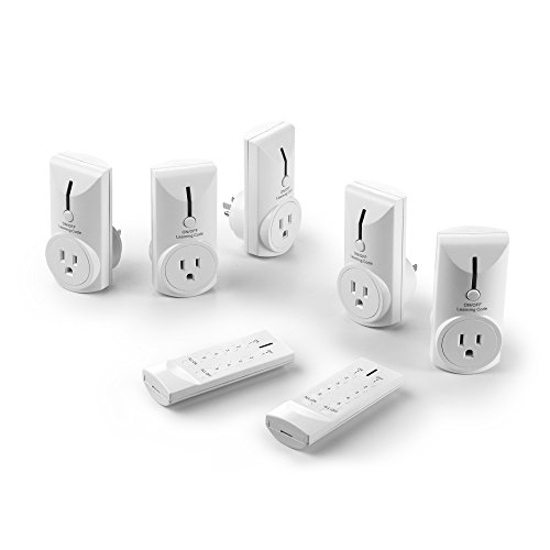 Link2Home EM-1001 Wireless Remote Control Electrical Outlet Switch for Household Appliances & Electronics with 5 Outlets and 2 Remotes, White