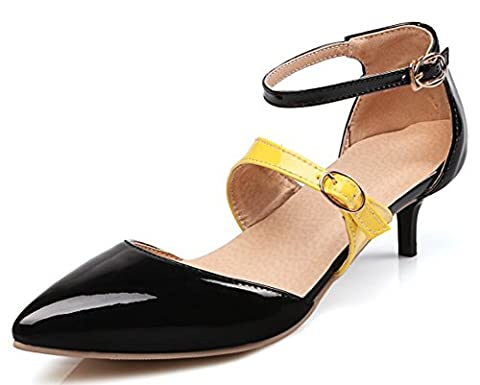 IDIFU Women's Fashion Buckle Closed Pointed Toe Mid Kitten Heels Pumps Shoes With Ankle Strap Black 7 B(M) US