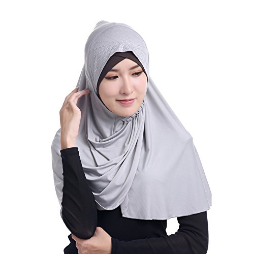 Solid color Fashion Scarf Chiffon Long Hijabs (Grey) - 8