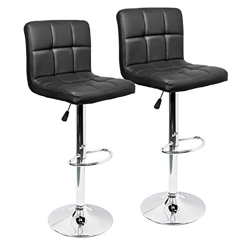 IntimaTe WM Heart Adjustable Swivel Bar Stools Set Of 2,Faux Leather Gas Lift Modern Square Kitchen Chairs With Back(Black)