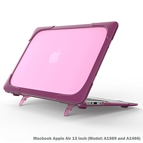 Rubberized Purple Rhinestones (Macbook Air 13 inch Case, Wtiaw[Heavy Duty] Slim Rubberized [Snap on] [Dual Layer] Hard Case Cover with breathe and cool itself freely TPU Bumper Cover for (Model: A1369 and A1466) - Purple)