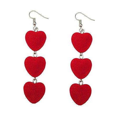 Heart Link Ring (FERVENT LOVE Long Piercing Dangle Earrings with 3 Red Love Heart Link Earrings Gifts for Women)